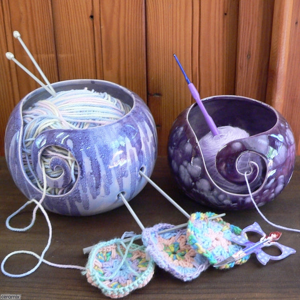 Paradiso Purple Small Round Yarn Bowl and Sugilite Purple Large Round Yarn Bowl Handmade by Margaret Melville Hugo using speciality glazes and African clay at Ceramix