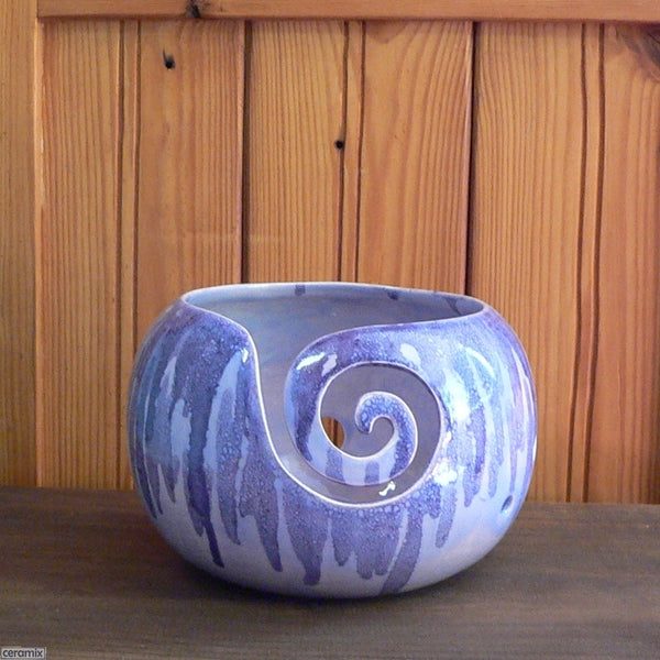 Swirl front of the Sugilite Purple Large Round Yarn Bowl Handmade by Ceramix
