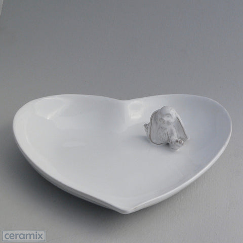 White Ceramic Sweet Bunny Medium Heart Bowl in Terracotta Clay Glazed White. Handmade by Ceramix