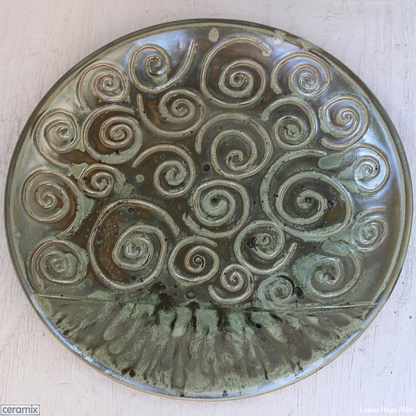 Swirling Large Round Stoneware Platter by Margaret Melville Numbered 11 - 43cm Wide x 5.5cm High