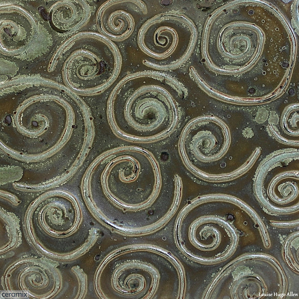 Close up view of Swirling the Large Round Stoneware Platter by Margaret Melville Numbered 11 - 43cm Wide x 5.5cm High