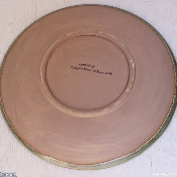 Swirling back view of the Large Round Stoneware Platter by Margaret Melville Numbered 11 - 43cm Wide x 5.5cm High