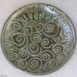 Swirling the Large Round Stoneware Platter Handmade by Margaret Melville  Numbered 11 - 43cm Wide x 5.5cm High