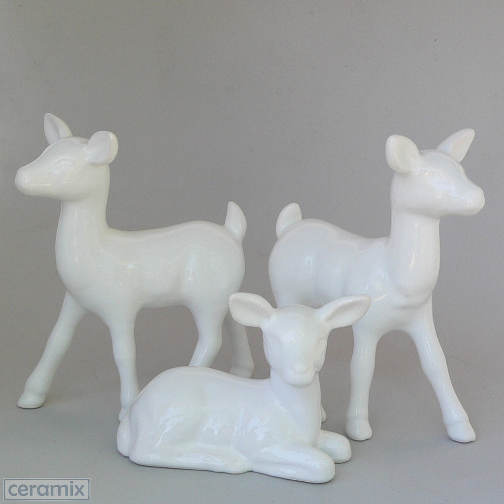 White Glazed Ceramic Deer by Ceramix