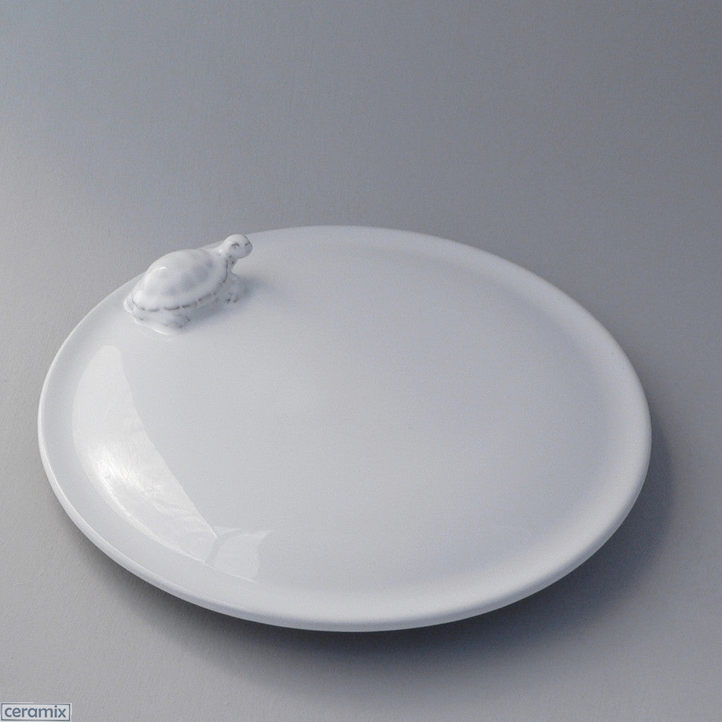 White Ceramic Tortoise Cake Plate in Terracotta Clay Glazed White by Ceramix
