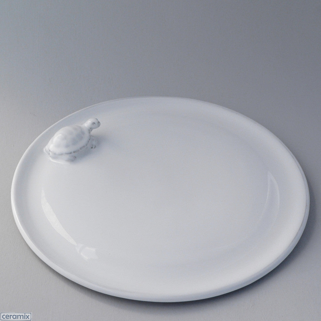 White Ceramic Tortoise Cheese Platter in Terracotta Clay Glazed White by Ceramix