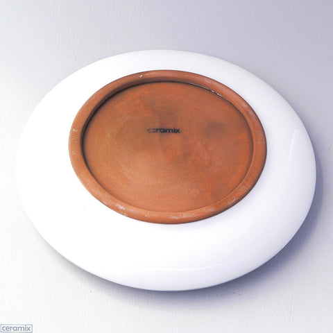 Back of the White Ceramic Tortoise Round Plate in Terracotta Clay Glazed White by Ceramix