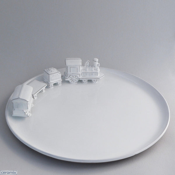 White Ceramic Train Platter in Terracotta Clay Glazed White by Ceramix