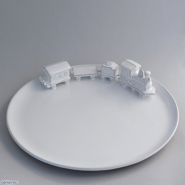 White Ceramic Train Flat Platter in Terracotta Clay Glazed White by Ceramix
