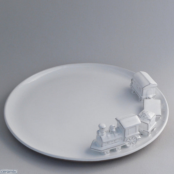 Large White Ceramic Train Platter in Terracotta Clay Glazed White by Ceramix