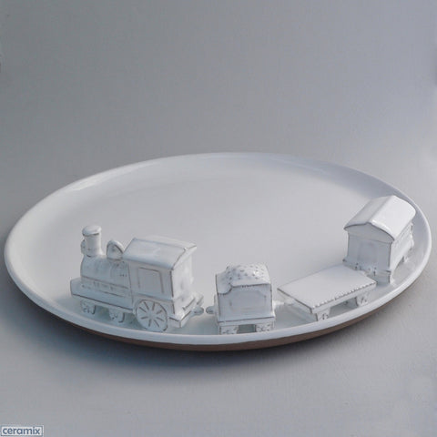 Large White Ceramic Train Flat Platter in Terracotta Clay Glazed White by Ceramix