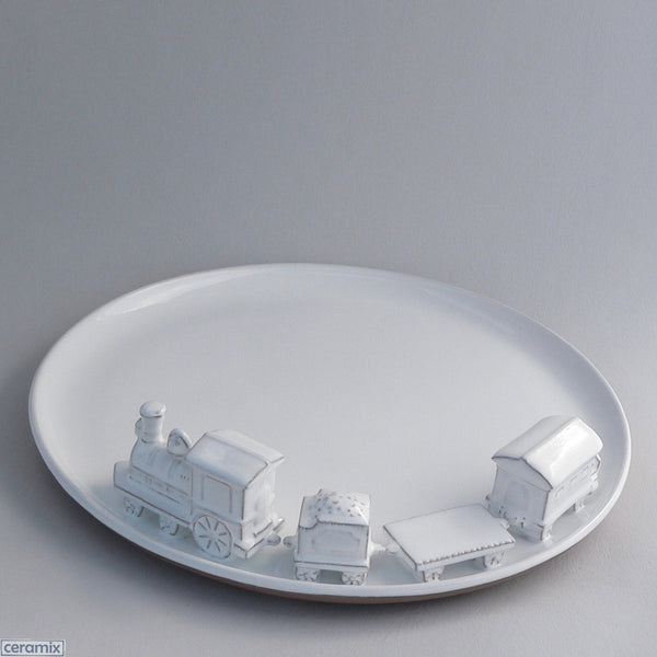 Train Platter in Terracotta Clay Glazed White by Ceramix