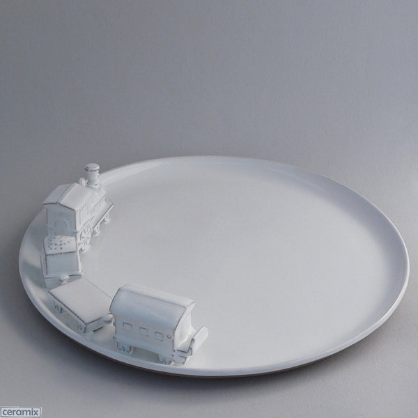 White Train Ceramic Platter in Terracotta Clay Glazed White by Ceramix
