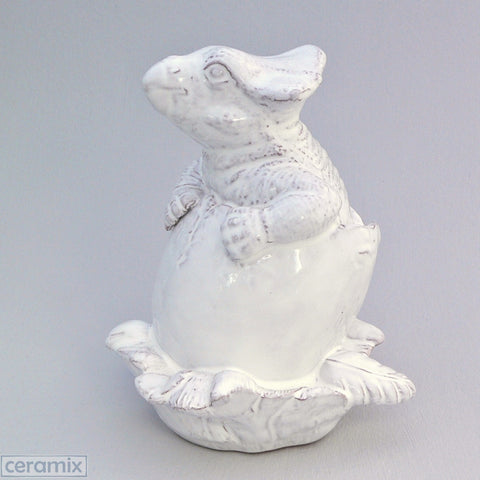 White Ceramic Triceratops Hatchling in Terracotta Clay Glazed White by Ceramix
