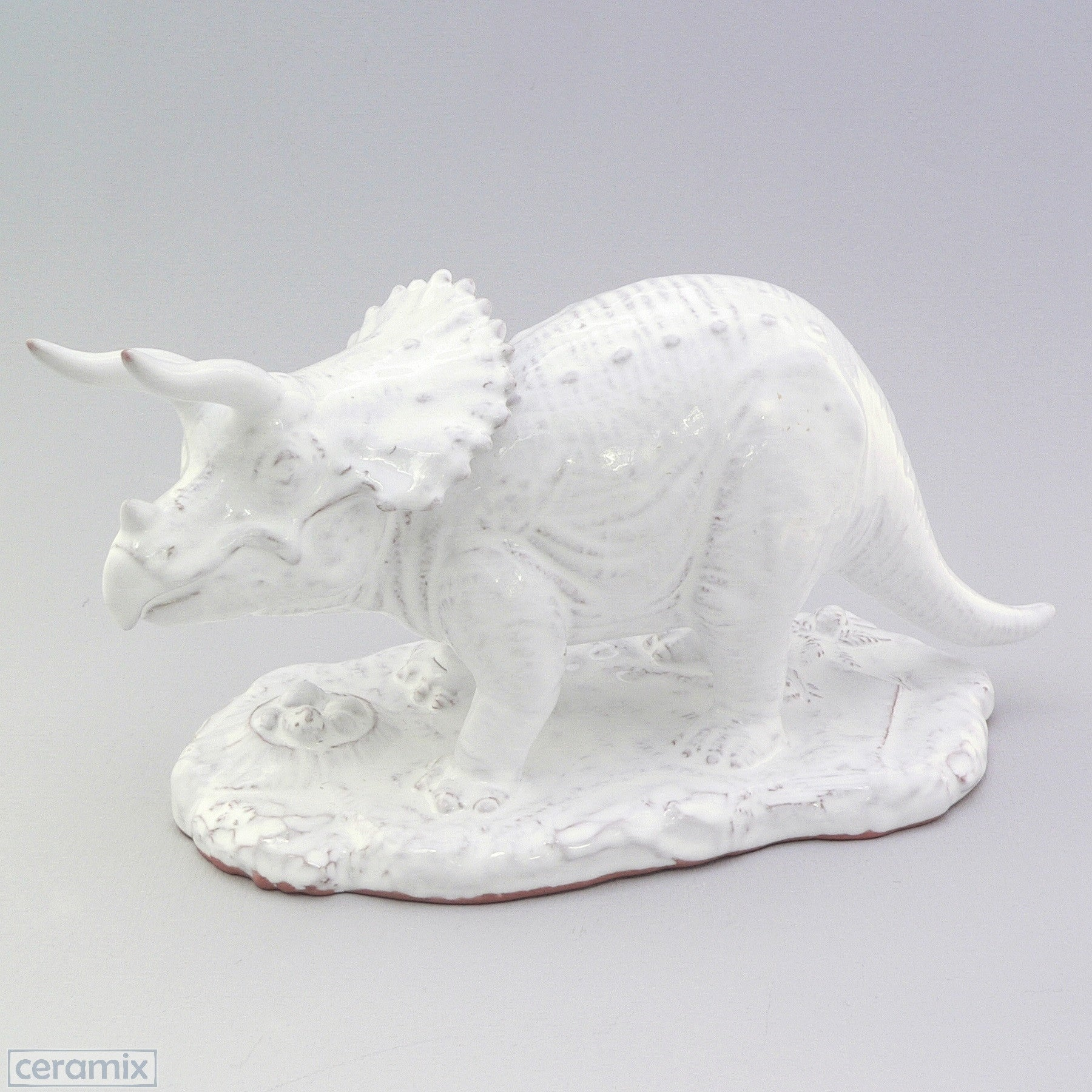 White Ceramic Triceratops in Terracotta Clay Glazed White by Ceramix