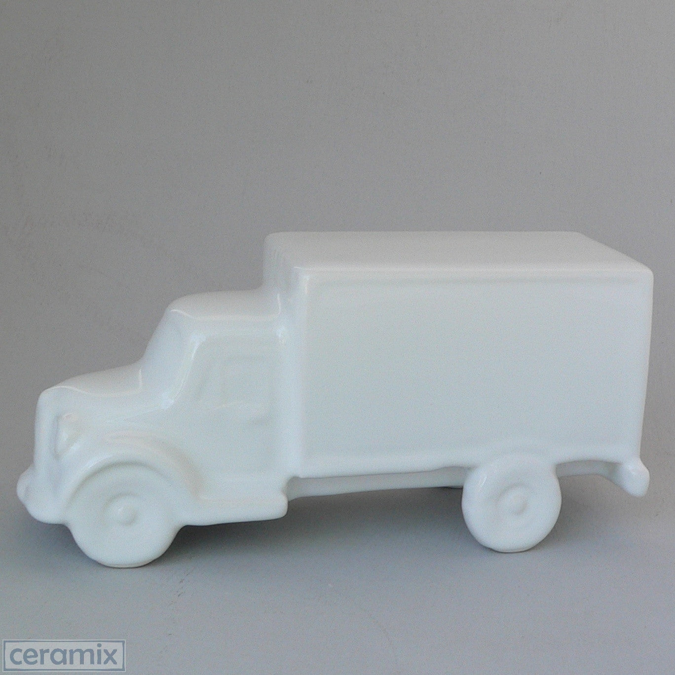 White Ceramic Truck Ornament in White Clay by Ceramix