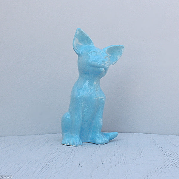 Turquoise ceramic sitting glazed Abby Chihuahua. Handmade in South Africa from African clay at the Ceramix pottery.
