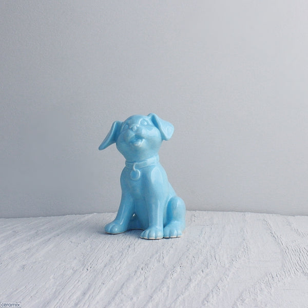Lulu Turquoise glazed Ceramic Dog.  Handmade at the Ceramix pottery in South Africa.