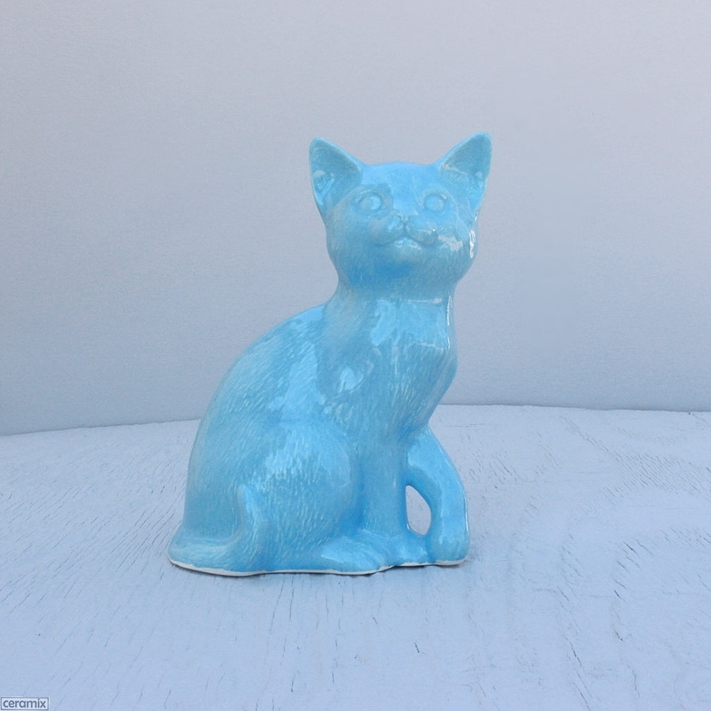 Turquoise glazed Molly Ceramic Sitting Cat. Handmade in South Africa from African clay at the Ceramix pottery.