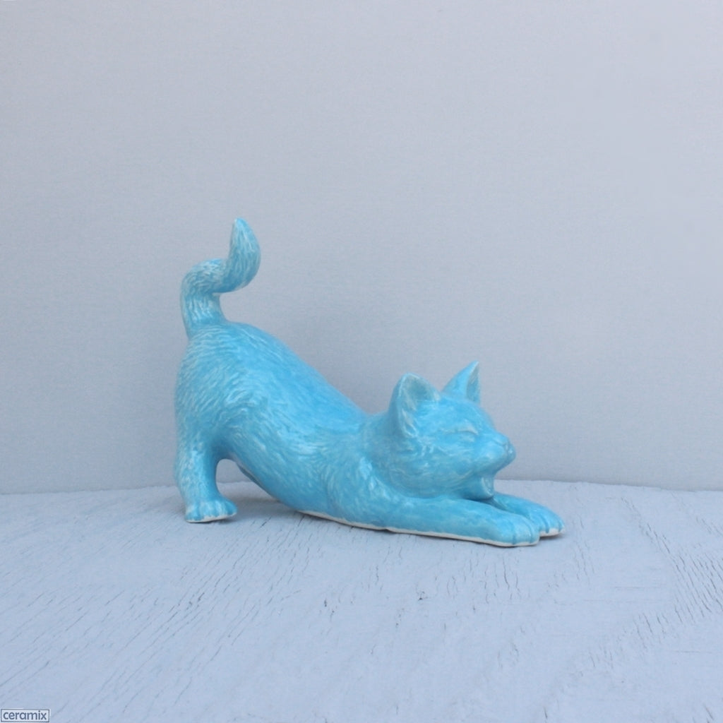 Sam Stretching Ceramic Cat