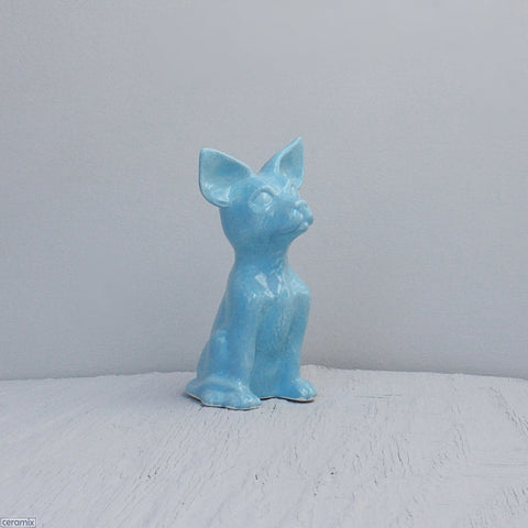 Turquoise glazed Small Frankie Ceramic Sitting Chihuahua Handmade at the Ceramix Pottery in South Africa from African clay