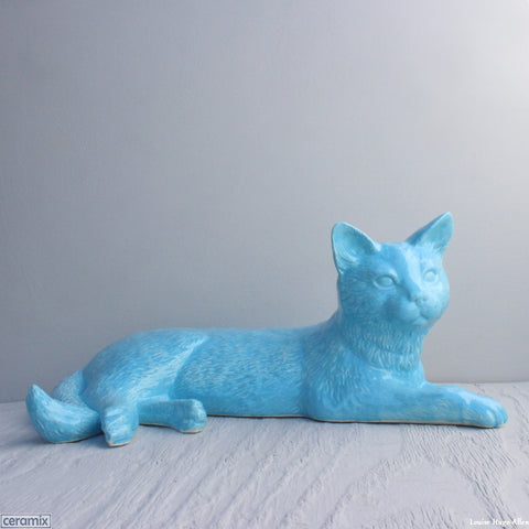 Glazed Ceramic Turquoise Sky Large Lounging Cat by Ceramix