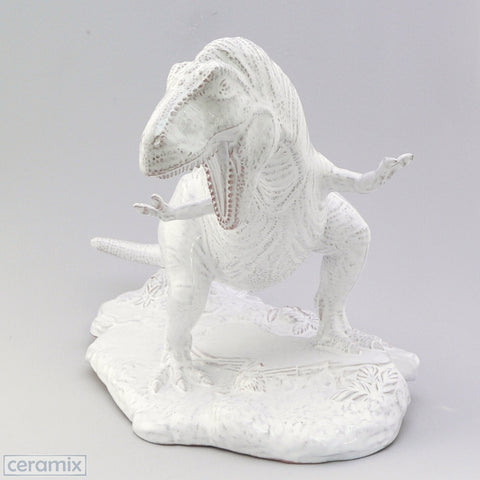 White Ceramic Tyrannosaurus Rex Ornament in Terracotta Clay Glazed White by Ceramix