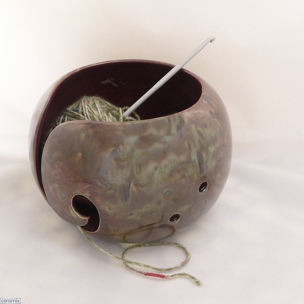 Umber Forest Large Round Yarn Bowl Handmade by Margaret Melville Hugo using African clay and speciality glazes at Ceramix