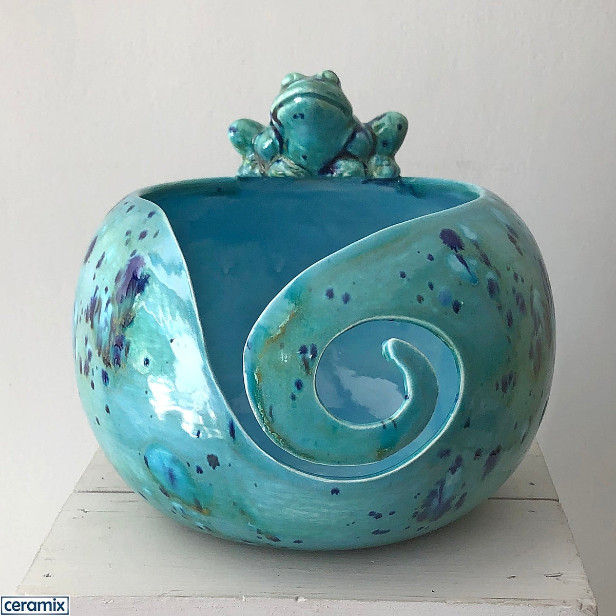Marsh Frog Large Round Yarn Bowl handmade at the Ceramix pottery in South Africa