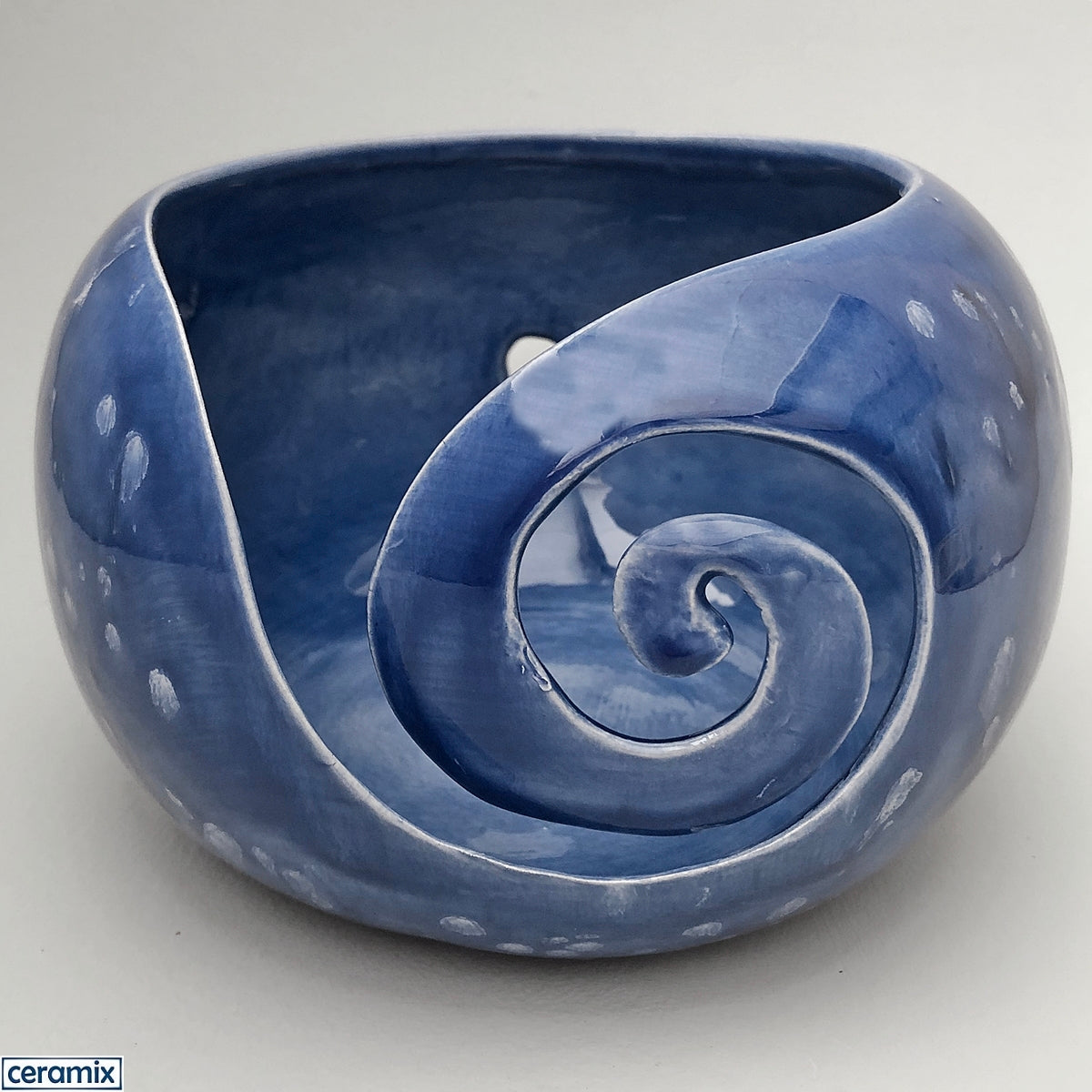 Celestial Blue large round ceramic yarn bowl handmade at the Ceramix pottery by Margaret Melville.