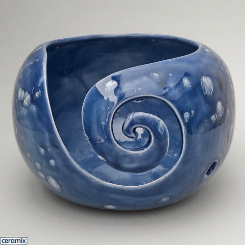 Imperial Blue large round ceramic yarn bowl handmade by Margaret Melville in South Africa.
