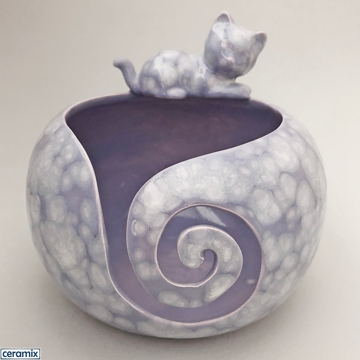 Purple Delight Cat large round ceramic yarn bowl handmade in South Africa by Margaret Melville.