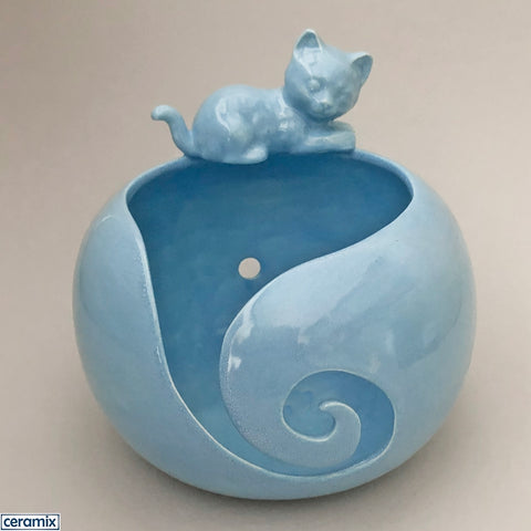 Turquoise Meander Cat large ceramic yarn bowl handmade in South Africa by Margaret Melville.