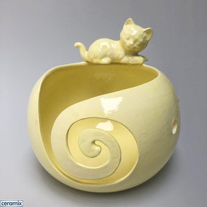 Masterful Cat Yellow ceramic yarn bowl handmade in South Africa by Margaret Melville.