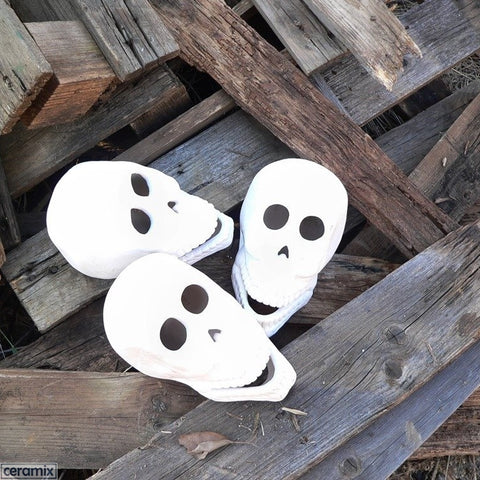 Ceramic unglazed Ceramic Zombie Skull Heads for your next braai by Ceramix.co.za