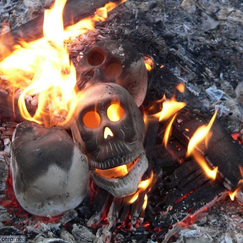 Zombie Skull Head Ceramic Bisque in a fire by Ceramix.co.za
