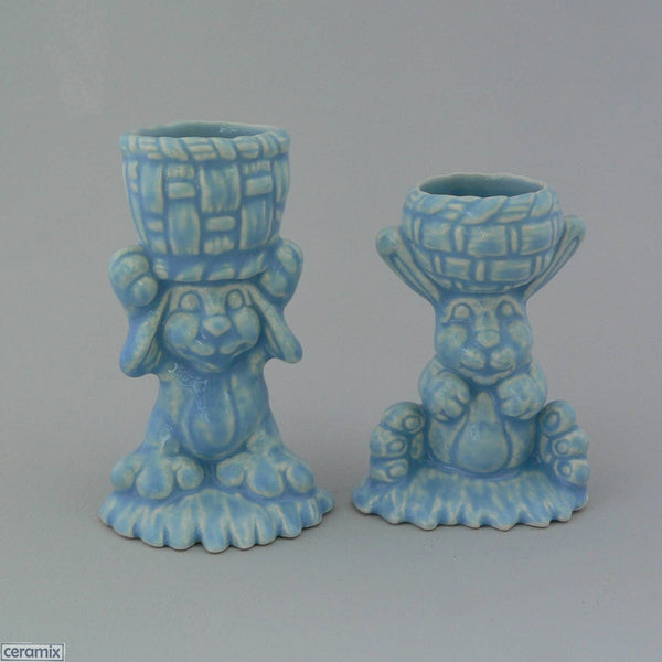 2 Blue Basket Bunny Glazed Ceramic Egg Cups
