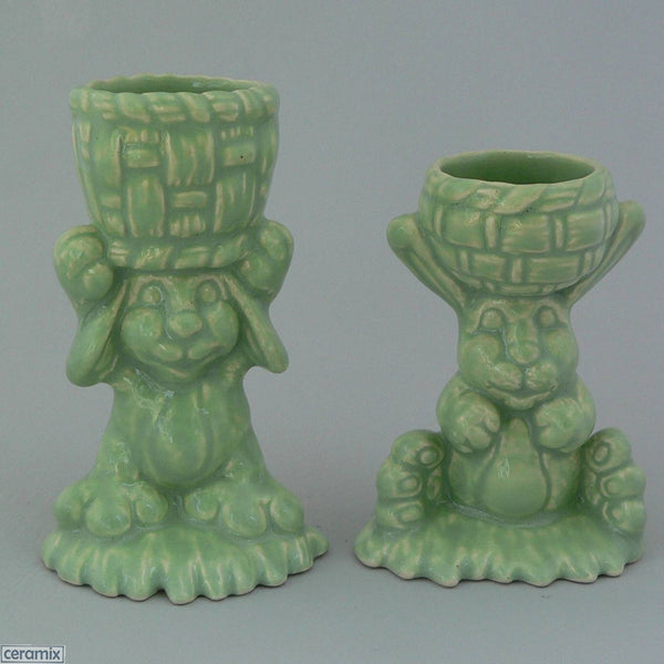 2 Green Basket Glazed Ceramic Bunny Egg Cups