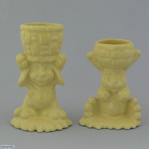 2 Yellow Glazed Ceramic Basket Bunny Egg Cups