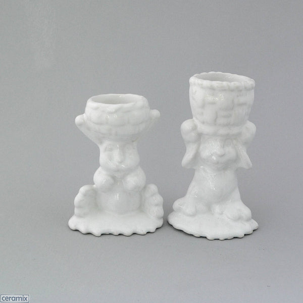 2 White Basket Glazed Ceramic Bunny Egg Cups