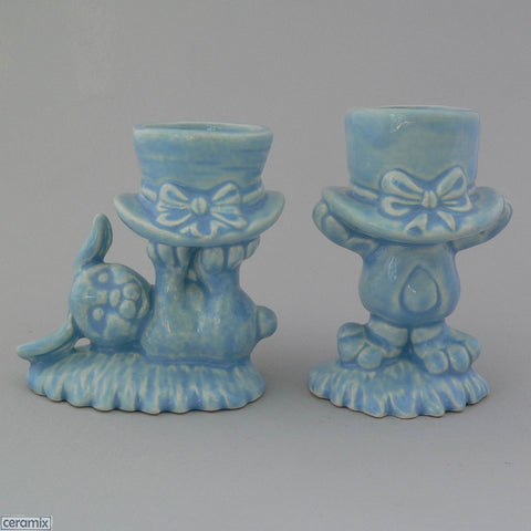 2 Blue Top Hat Bunny Egg Cups