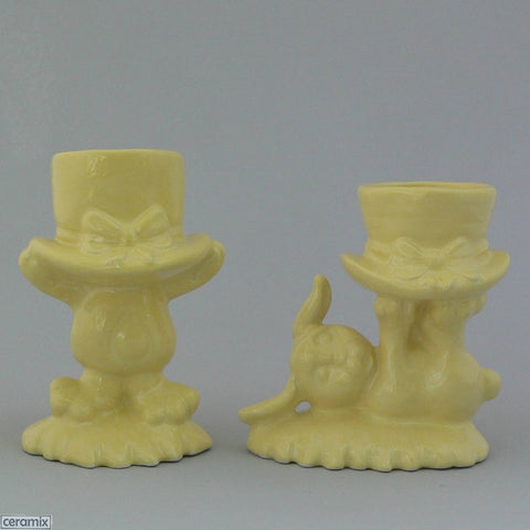 2 Lemon Yellow Top Hat Bunny Egg Cups