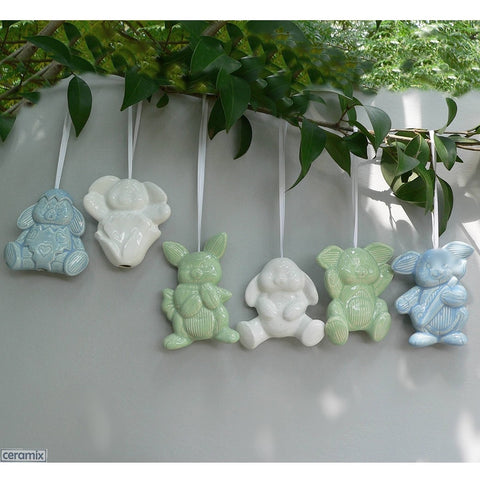 6 Ceramic Hanging Bunny Glazed Easter Decorations by Ceramix