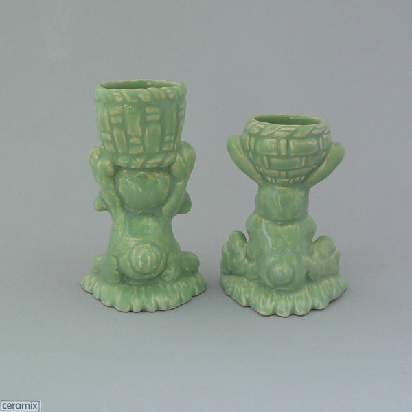 Back of 2 Green Basket Bunny Egg Cups