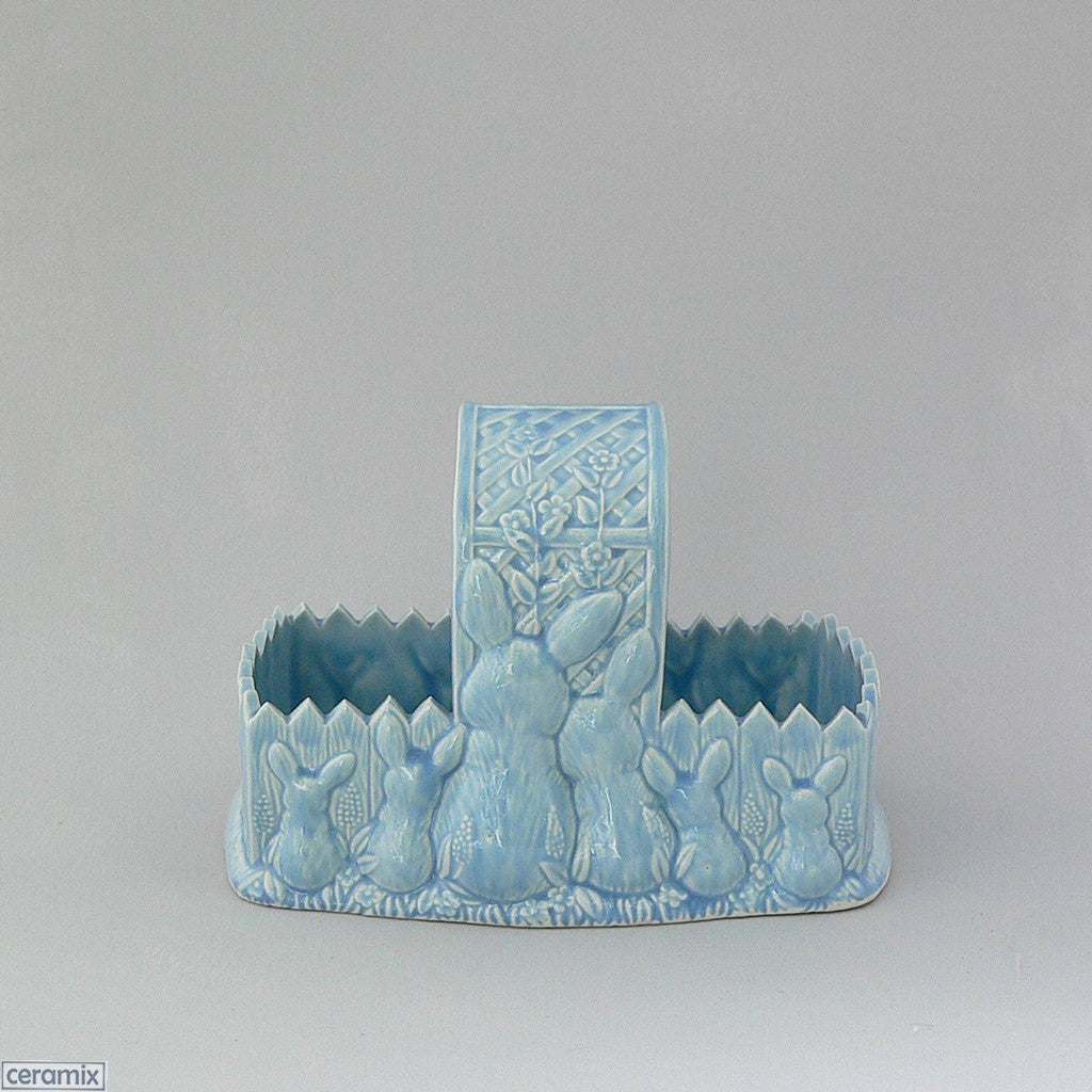 Blue Easter Glazed Ceramic Bunny Basket by Ceramix