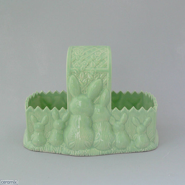 Green Easter Glazed Ceramic Bunny Basket