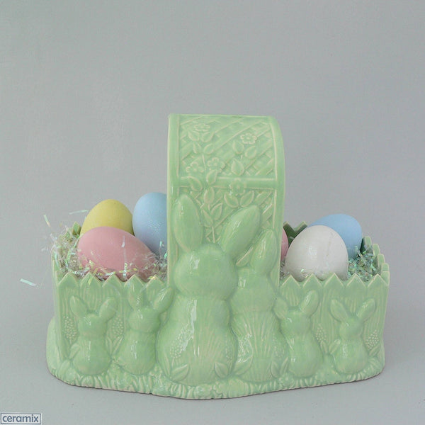 Mint Green Easter Bunny Glazed Ceramic Basket with Eggs