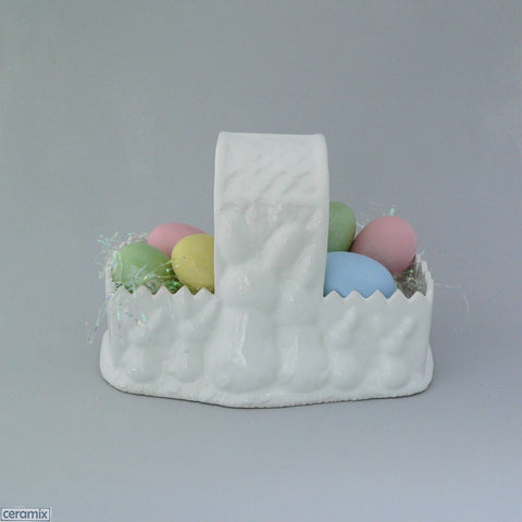 White Easter Bunny Glazed Ceramic Basket with Eggs
