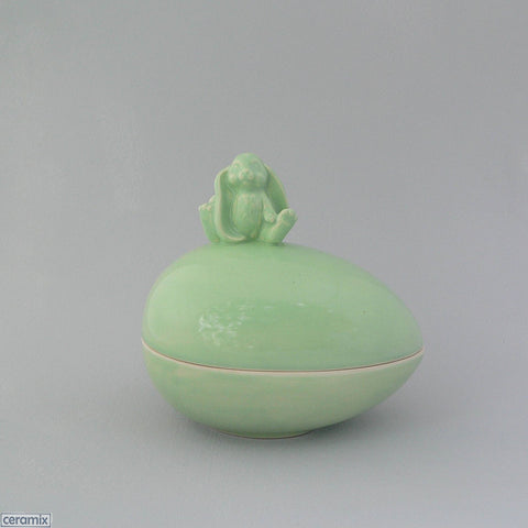 Mint Green Sitting Ceramic Glazed Bunny Easter Egg Box by Ceramix