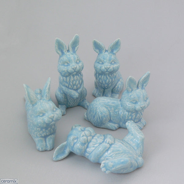 Set of Five Blue Small Ceramic Bunnies